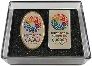東京 2020 オリンピック ピンバッジ 招致 縦長 楕円 2個セット ケース付