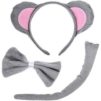 Halloween Xmas Animal Cosplay Costume Cat Fox Ears Headband Tail Bow Tie Set