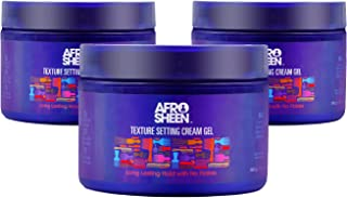 Afro Sheen Texture Setting Cream Gel (3 Pack). Long lasting hold with no Flakes, 12 Oz.
