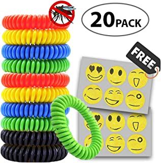 Duuda Mosquito Repellent Bracelet 20 Pack Plus 30 Free Patches, 100% Natural Insect Bug Repellent Bands, Pest Control for Kids, Adults, Adjustable Wristbands for Indoor and Outdoor
