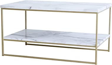 Roomfitters White Marble Print Coffee Table with Gold Metal Legs, 2 Tier Living Room Table
