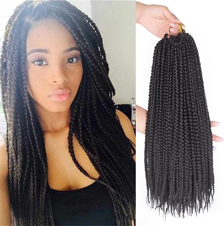 AISHUAIGE 6 Packs Lot Braids Crochet Hair Extensions 18Inch 3X Synthetic Braiding Hair Crochet Braids Hair Weave 22 Strands Pack (6pc 18Inch)
