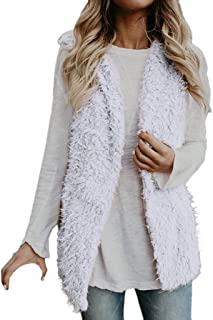 Creazrise Womens Vest Casual Faux Fur Sherpa Jacket Winter Sleeveless Open Front Coat Sleeveless Waistcoat