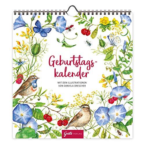 Geburtstagskalender immerwährend Wandkalender Natur | Kalender Geburtstag jahresunabhängig | Dauerkalender für Geburtstage ohne Jahreszahl, 12 Monatsseiten, Grätz Verlag