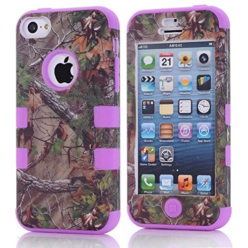 For iphone 5c Case,Kecko(TM) Defender Body Armor Realtree Camo High Impact Tough Silicon Rubber Military Rugged Protective Case with Camouflage Wood Design for iphone 5C Only (Bird Purple)
