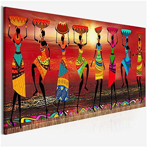 YANGMENGDAN Druck auf Leinwand Cuadros Tribal Art Gemälde Afrikanische Frauen Tanzen Ölgemälde Bild für Wohnzimmer Leinwand Home Decor 60x180 cm x 1 stücke Kein Rahmen