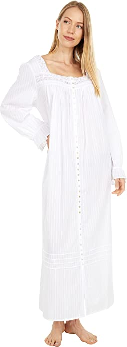 Cotton Dobby Stripe Woven 3/4 Sleeve Long Button Front Robe