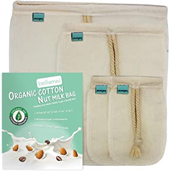 "Bellamei Nut Milk Bag Reusable 4 Pack Organic Cotton Food Strainer Colander Nut Bags for Almond Milk,Juice,Cold Brew Coffee,Tea,Yogurt,Cheese,Bone Broth,Sprouting (4 pack - 12""x12"" /8""x10"" /4""x6"")"