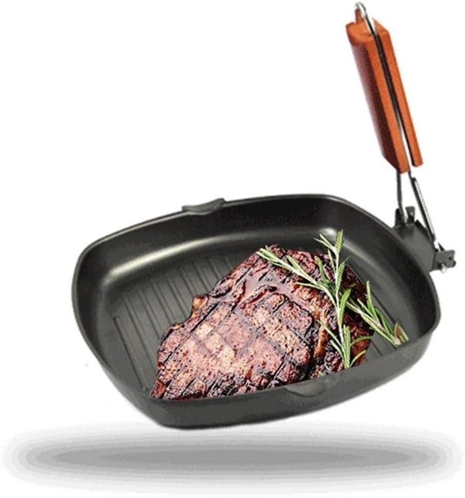 Yqs Poêle à Steak 20 / 24cm Nicht-Stick Steak Pfanne BBQ Faltbare Bratpfanne Braten Küche Liefert Einfache Pan Eisen Sauber Picknick Camping (Color : 24cm) 20cm