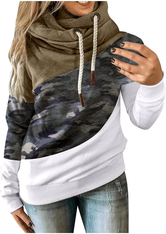 BAGELISE Hoodies Women Oversized,Color Block Cowl Neck Print Sweatshirt for Women Long Sleeve Cute Hoodies Pullover