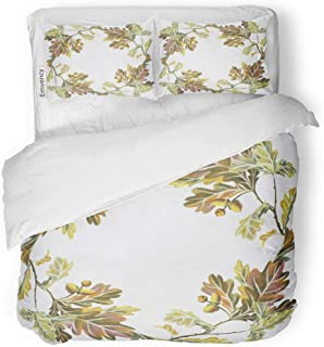 Emvency Bedding Duvet Cover Set Botanic White Oak Branches Leaves and Acorns Floral Drawn by Pencils in Vintage Great for Wedding Placing Text 3 Piece Twin 68