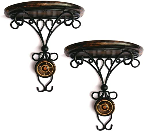 PEBBLE CRAFTS Wall mounted Wooden And Wrought Iron Wall Bracket Shelf Decor For Living Room Photo Frame Flower Pot Wifi home And Office Combo