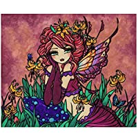 DFGAD Full Round Drill 5D Diy Diamond Embroidery Lily Fairy Cross Stitch Kits Girl Room Decorations
