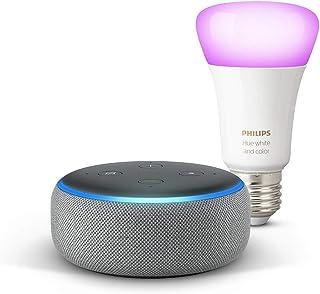 Echo Dot (3.ª generación), tela de color gris oscuro + Bombilla inteligente LED Philips Hue White & Color, compatible con Bluetooth y Zigbee, no se requiere controlador