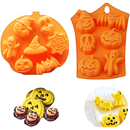 Halloween Pumpkin Witch Skull Ghost Solicone Chocolate Cake Mould DIY Candy Mold Ice Sugar Tray Cake Decor Mold Baking Tools