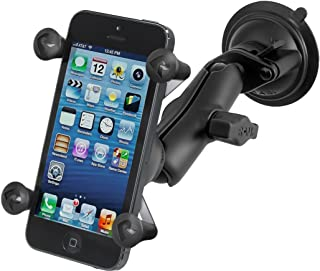 Ram Mount Twist Lock Suction Cup Mount with Universal Cell Phone Holder, Black, RAM-B-166-UN7U (Renewed)