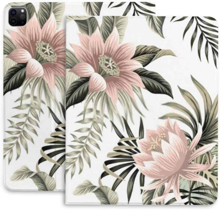 Case for Ipad Pro 12.9 Tropical Finally popular brand Vintage P Lotus Pink Palm Leaves Translated