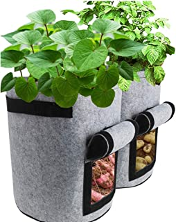 Miweel 2 Pack 4 Gallon Potato Grow Bags, Planter Bag Heavy Duty, Thickened Growing Bags Garden Vegetable Planter with Hand...