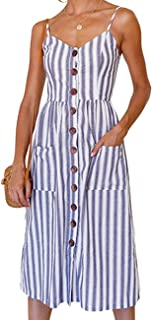 Women's Spaghetti Strap Dress - Holiday Midi Button Decoration Knee Length Printed Floral Swing...