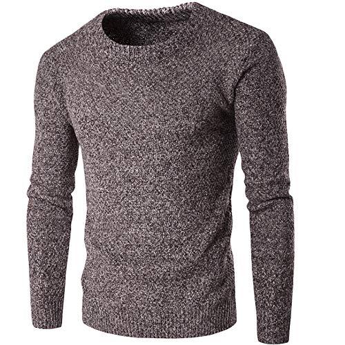 Suéter para Hombre, Cuello Redondo, Moda, clásico, de Manga Larga, Ajustado, Todo fósforo, cálido, básico, Jersey de Punto, Europa y América XXL