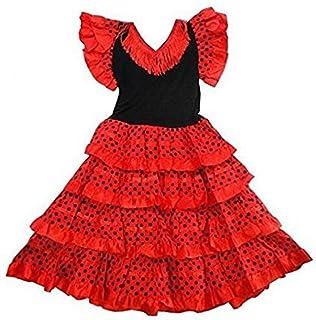 112b6734990a4 Robe danse flamenco traditionnelle a pois fille rouge Noir