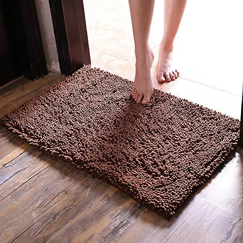D&LE Super Thick Bathroom Mat, Soft Cozy Shaggy Rug Solid Color Machine Wash Dry Perfect Plush Carpet For Tub Shower Bedroom-brown 60x90cm