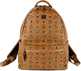 MCM Unisex Cognac Brown Coated Canvas Medium Studded Backpack MMK8AVE55CO001