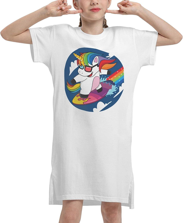 Unicorn Surfing Summer Girls Dress Casual Cotton Sleeveless Skirt Dresses for Girls Kids 7-12 Years