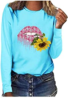 VigorY❀ Sunflower T-Shirt Women Cute Funny Graphic Tee Teen Girls Casual Long Sleeve Shirt Tops Loose T Shirt
