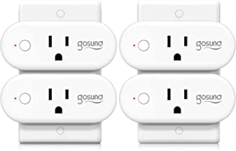 Smart Plug Gosund 15A Smart Home WiFi Outlet Work with Alexa Google Home,4 Pack Mini Socket with Timer Function and Overlo...