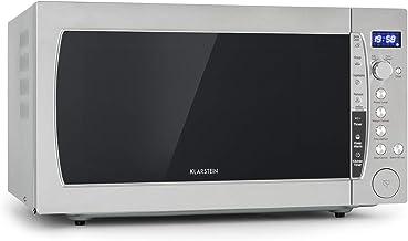 Klarstein MaxiWave microondas - 1200 W, 60l de capacidad (extra grande), 10 niveles de potencia, función descongelar, 5 programas automáticos, pantalla LED, a prueba de niños, acero inoxidable