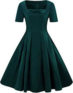 Wellwits Women's Solid Pleated Spuare Neck Bowknot 1940s Vintage Formal Dress