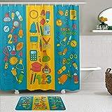 Stoff Duschvorhang & Matten Set,ABC Alphabet Numbers Back to School,Wasserabweisende Badvorhänge mit 12 Haken,rutschfeste Teppiche