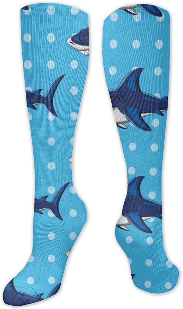 Cartoon Shark Pattern Knee High Socks Leg Warmer Dresses Long Boot Stockings For Womens Cosplay Daily Wear