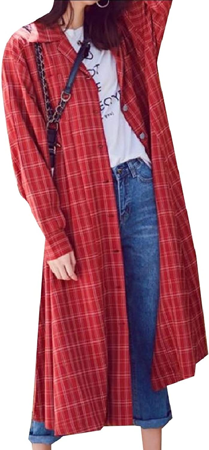 Baseby Women's Vintage TrimFit Tops Outwear Plaid Belted Lapel Trench Coat