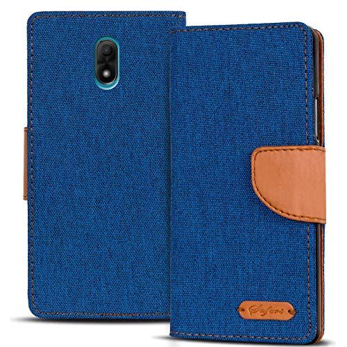 Verco Lenny 5 Hülle, Schutzhülle für Wiko Lenny 5 Tasche Denim Textil Book Hülle Flip Hülle - Klapphülle Blau