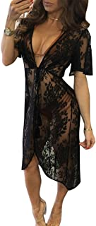 5e588bbae9a4 junkai Copricostume Mare Donna, Costume da Bagno a Maglia Kimono Tunic  Shirt Maglietta Uncinetto con