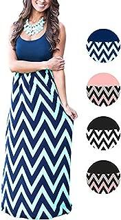 Womens Tank Top Long Maxi Dresses Summer Boho Empire Chevron Tank Top Casual Beach Dresses