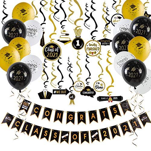 SUNBEAUTY Afstuderen Deco Set 2021 Afstuderen Banners 30 Afstuderen Spiralen Zwart Goud 15 Ballonnen
