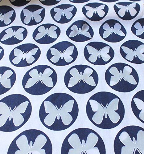 Hilco Baumwollstoff Ausbrenner Papillon blau Schmetterling Meterware Kinderstoff 1 Meter