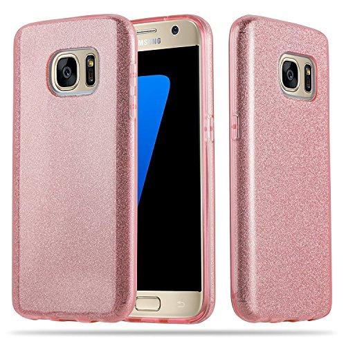 Coovertify Funda Purpurina Brillante Rosa Samsung S7, Carcasa Resistente de Gel Silicona con Brillo Rosa para Samsung Galaxy S7 (5,1')