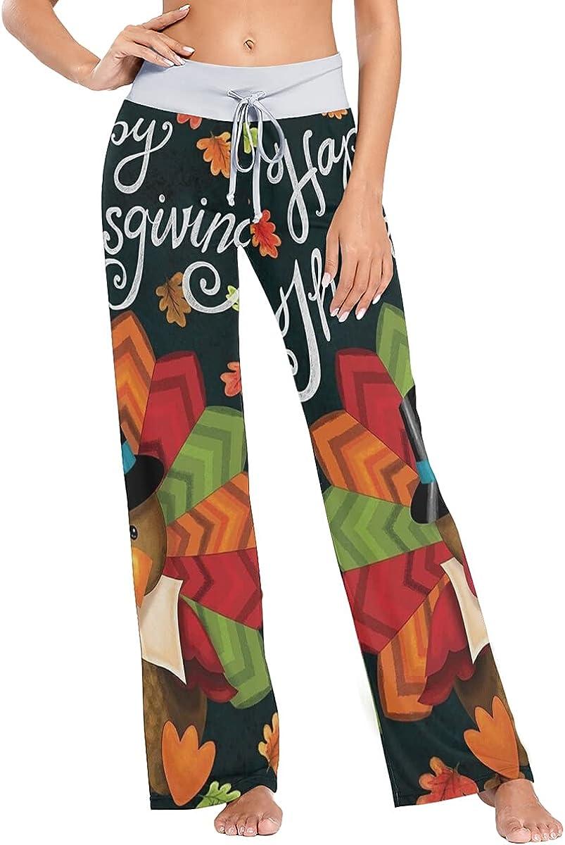 AUISS Women Pajamas Thanksgiving Turkey Pants Sleepwear Sweatpan