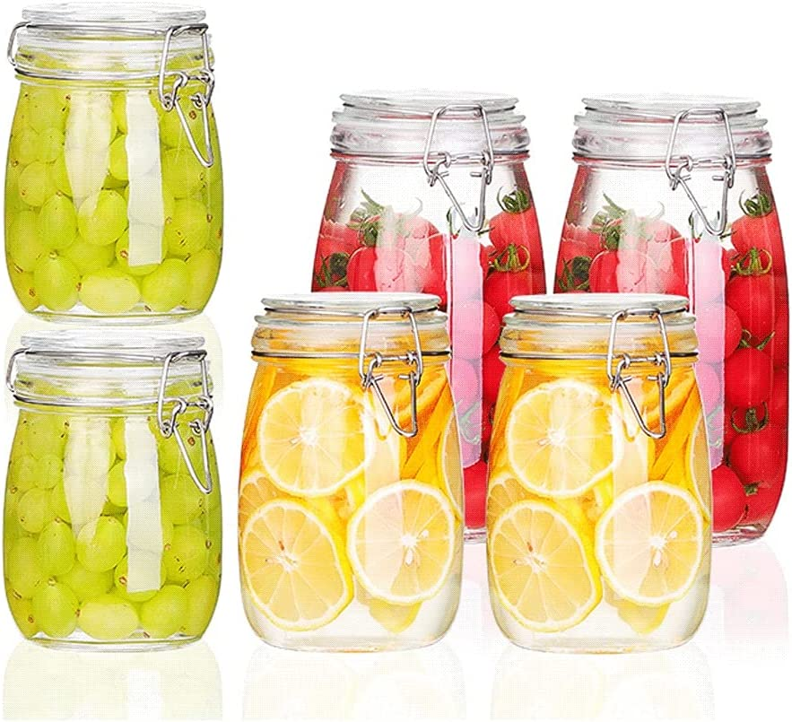 ZANZAN Airtight Glass Canister Food Storage T Clip Lid Sales results No. Bombing new work 1 with Jars