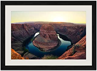 Horseshoe Bend at Sunset - Art Print Wall Black Wood Grain Framed Picture(20x14inches)
