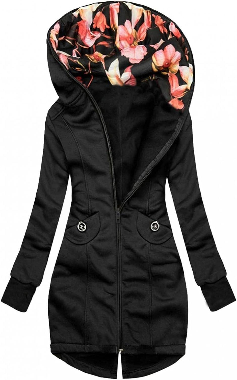 Toeava Women Casual Sweatshirt Full Zip Up Hoodie Comfy Loose Floral Solid Long Sleeve Jacket with Pockets