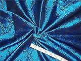 Brokat-Stoff aus Seide, Blau, X Schwarz, 11,8 cm, BRO480