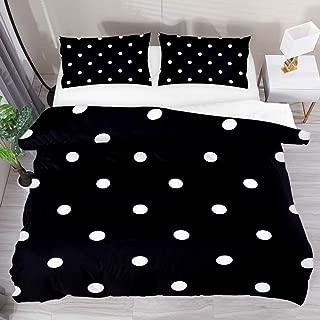 LUCASE LEMON ALEX 3 Pieces White Black Polka Dot Duvet Cover Set (1 Duvet Cover + 2 Pillowcases) Queen Size Breathable Soft Bedding Sets Room Decor for Adult Women Men Teens