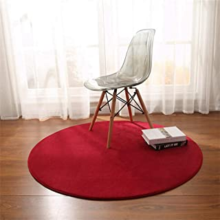 MOXIC Solid Round Area Rugs Soft Living Room Bedroom Children Crawl Rug Coral Fleece Anti-Slip Carpet Bathroom Mats Circular Modern Home Decorate Nursery Runners Wine Red 4' X 4'
