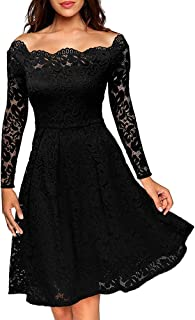 COOSA Women's Vintage Floral Lace Boat Neck Long Sleeves Swing Dress Cocktail Formal Dress for Party Picnic