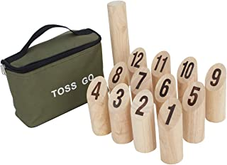 LAWN TIME Viking Bowling - Molkky - Rubberwood Viking Kubb with Carrying Bag